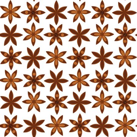 illustrazione vettoriale. sfondo senza soluzione di continuità. Modello con stelle di anice. badian.