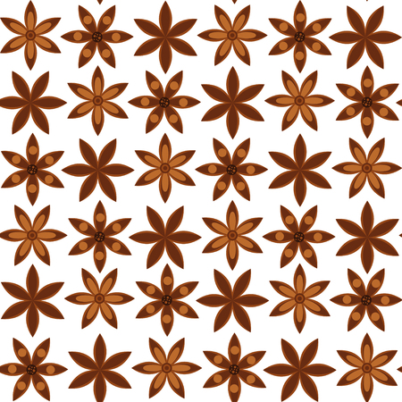 vector illustration. seamless background. Pattern with anise stars. badian. Stock Vector - 105165379