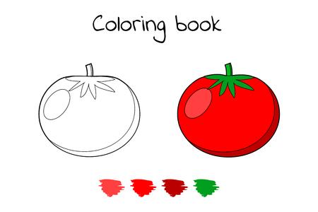 Illustrazione vettoriale. Gioco per bambini. Verdura. Pagina da colorare pomodoro