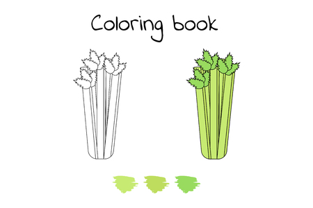 Vector illustration. Game for children. Vegetable. Coloring page Celery
