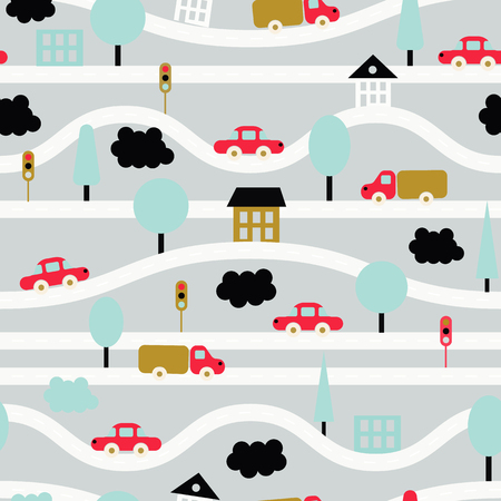 Vector illustration. Seamless background. Children's pattern with roads, cars, trees, traffic lights, houses and clouds. Grey, blue, black, red, gold Foto de archivo - 105165195