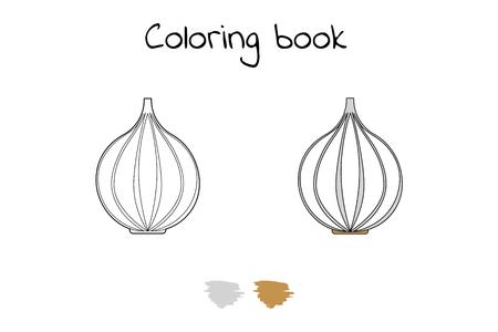 Vector illustration. Game for children. Vegetable. Coloring page Garlic