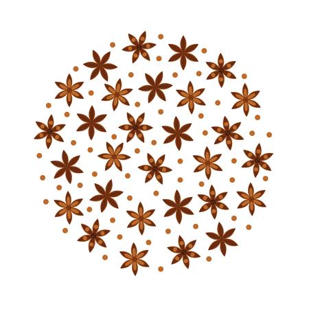illustrazione vettoriale. Spezia. Anice stellato Badian. Modello rotondo