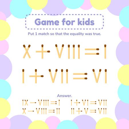 vector illustratie. wiskunde spel voor kinderen. Plaats 1 lucifersstokje zodat de gelijkheid waar was.