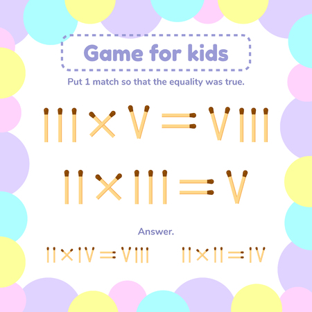 vector illustration. math game for kids. Put 1 matchstick so that the equality was true.