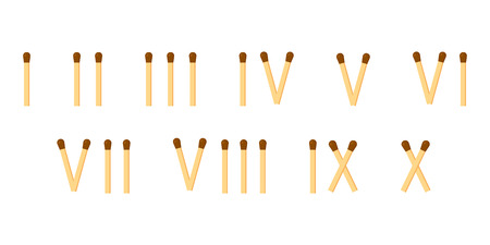 vector illustration. matches. roman numerals. mathematics