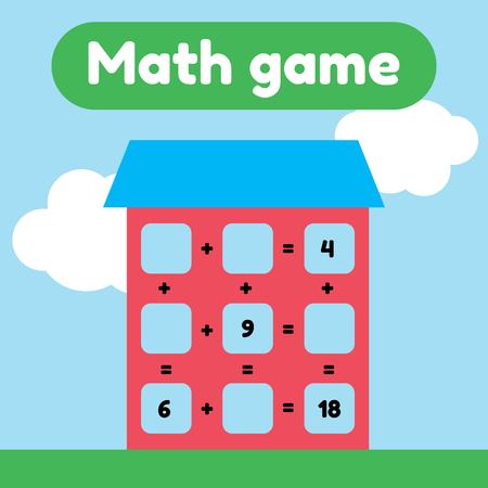 Vector illustration. Math game for preschool and school age children. Count and insert the correct numbers. Addition. House with windows. Ilustracje wektorowe