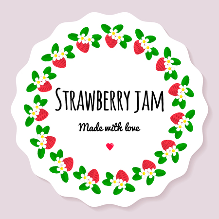 Vector illustration. Label for berry jam. Round frame of berries. Strawberry with flowers and leaves