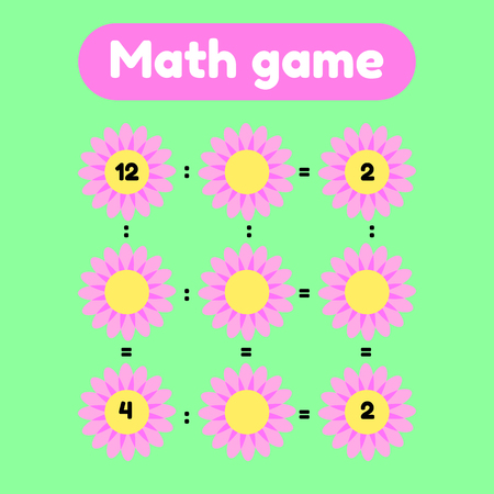 Vector illustration. Math game for preschool and school age children. Count and insert the correct numbers. Division. Glade with pink flowers.