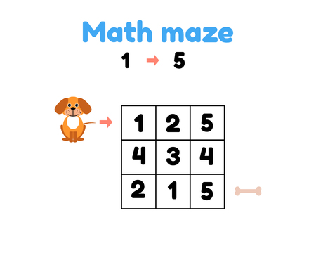 vector illustration. game for preschool children. mathematical maze. help the puppy to get to the bone. find numbers from 1 to 5