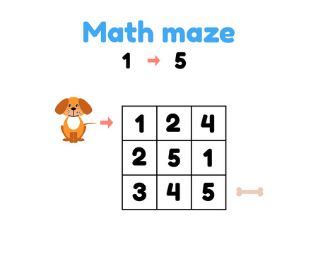 vector illustration. game for preschool children. mathematical maze. help the puppy to get to the bone. find numbers from 1 to 5 Illustration