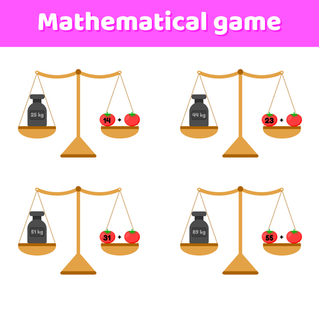 vector illustration. Math game for kids of school and preschool age. Scales and weights. Addition. Vegetables tomatoes.