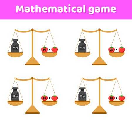 Vektor-Illustration. Mathe-Spiel für Kinder im Schul- und Vorschulalter. Waagen und Gewichte. Zusatz. Gemüse Tomaten.