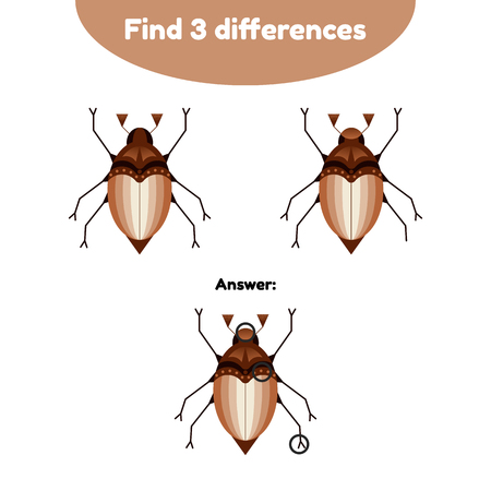Vector illustration. Puzzle game for preschool children. Find 3 differences. With the answer. may beetle, chafer