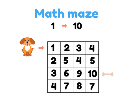 vector illustration. game for preschool children. mathematical maze. help the puppy to get to the bone. find numbers from 1 to 10 Illustration