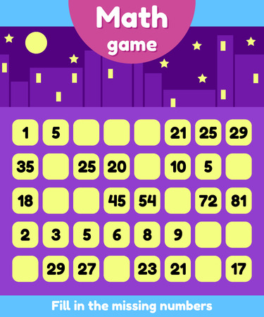 Vector illustration. Math game for preschool and school age children. Fill the missing numbers. Find a sequence. Illustration