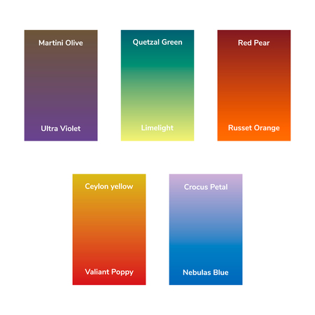 infographics, trendy fashion colors of the 2018 fall, winter, gradient. Martini Olive, Quetzal Green, Red Pear, Ultra Violet, Limelight, Russet Orange, Ceylon yellow, Crocus Petal, Valiant Poppy