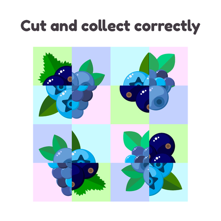 vector illustration. puzzle game for preschool and school age children. cut and collect correctly. berries, blackberries, blueberries, black currants  イラスト・ベクター素材