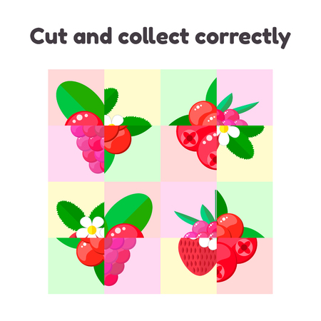 vector illustration. puzzle game for preschool and school age children. cut and collect correctly. berries, raspberries, cranberries, strawberries