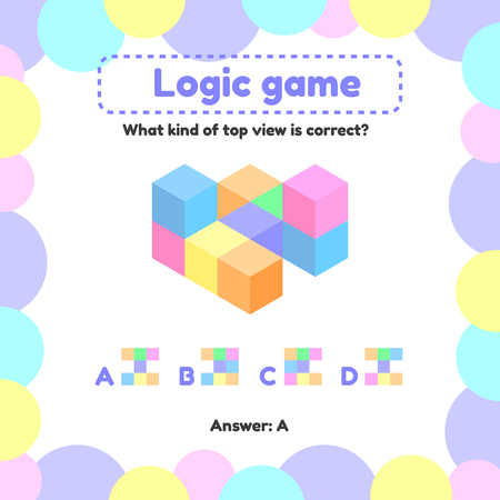 Vector illustration. Logic game for preschool and school age children. what is the view from the top right