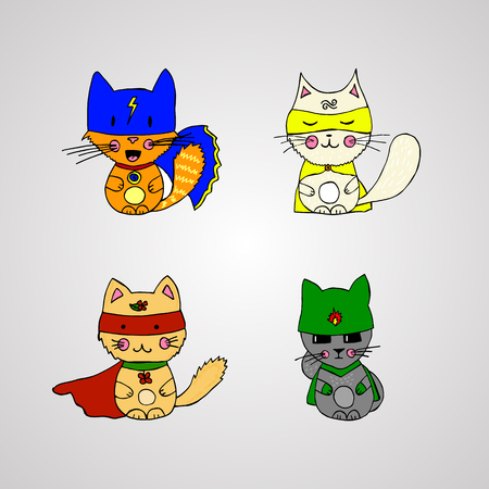 cats superheroes Stock Photo