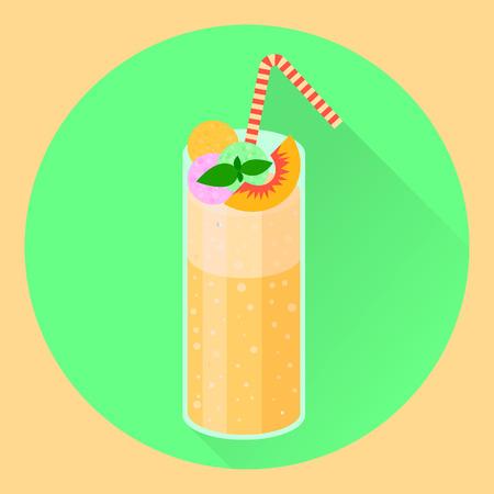 flat icon, cocktail, peach