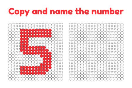 Juego educativo para la atención de niños en edad preescolar y preescolar. Repite la imagen. Copia y nombra el número. Colorea con el ejemplo. Cinco rojos. 5