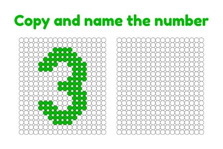Gioco educativo per l'attenzione per i bambini della scuola materna e dell'età prescolare. Ripeti l'immagine. Copia e nomina il numero. Colore per esempio. Albero verde. 3