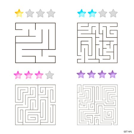 illustration of set of 4 square mazes for kids
