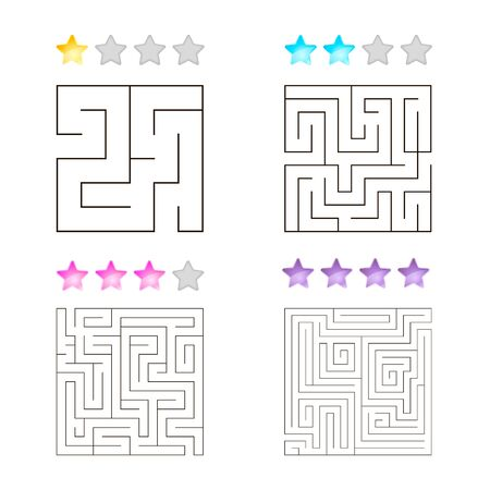 illustration of set of 4 square mazes for kids Imagens - 130116789