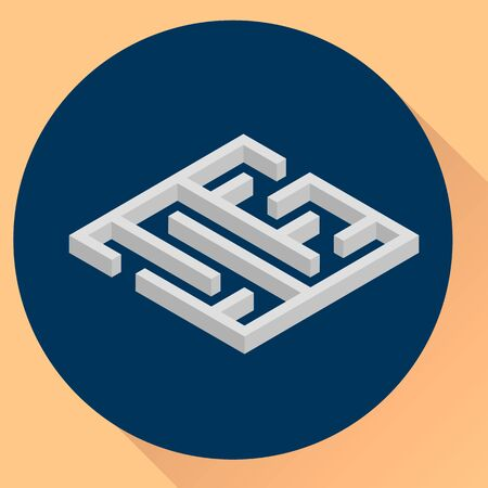 illustration. flat round icon, maze, isometric.