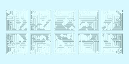 illustration of a set of ten square mazes