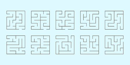 set of ten square mazes 版權商用圖片