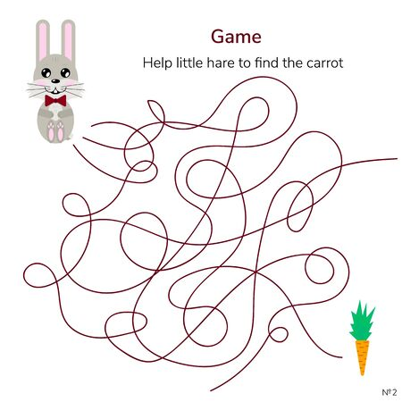 illustration. game for children. maze or labyrinth for kids. cartoon cute hare and carrot. tangled road.