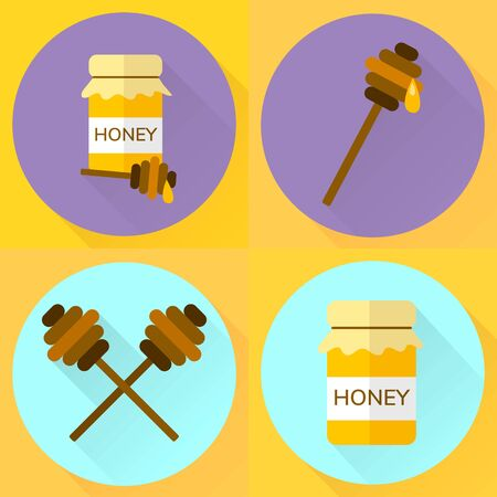 set illustration flat icon jar of honey, yellow, blue, purple, stick for honey Stock Photo