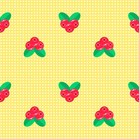 illustration. seamless pattern. background with forest berries cranberries red with green leaves. white polka dot on yellow. for textile, wallpaper, covers, surface, print, gift wrap.