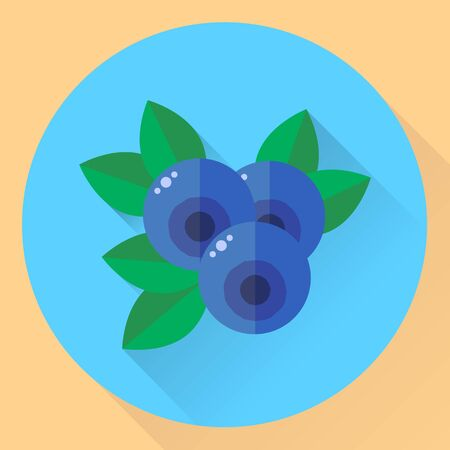 illustration, flat round icon blueberries, bilberry, blue forest berries with green leaves Imagens