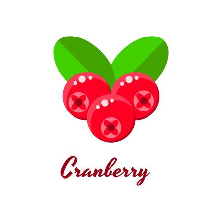 ector illustration, cranberries, forest red berries with green leaves