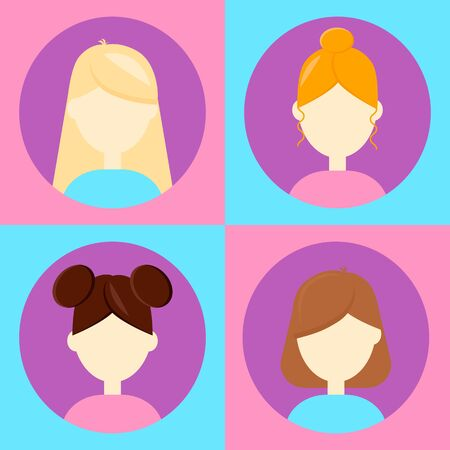 illustration. set 4 avatar for users,flat round icon, female, woman, blonde, redhead brunette blue purple pink
