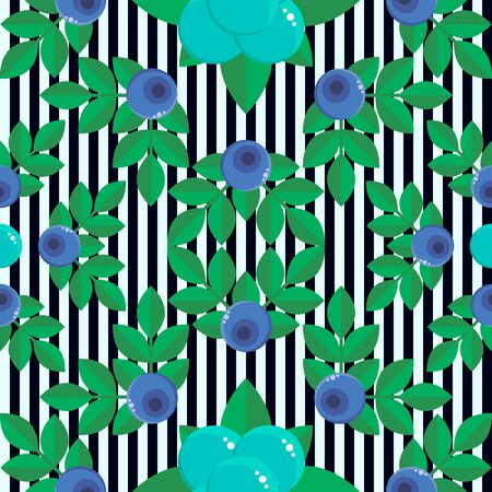 illustration. seamless pattern. background with forest berries bilberry and stone bramble, blue with green leaves. stripe. for textile, wallpaper, covers, surface, print, gift wrap Stock Photo