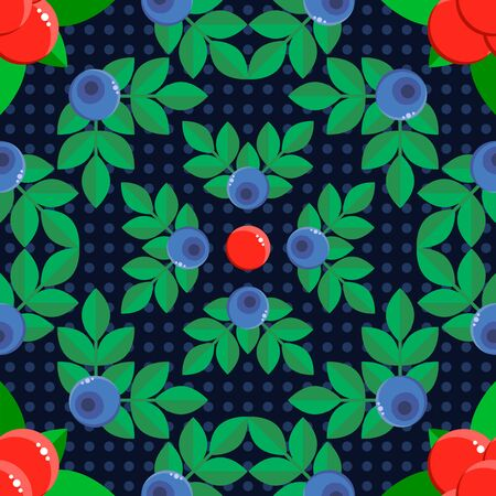 illustration. seamless pattern. background with forest berries bilberry and stone bramble blue and red with green leaves. polka dot. for textile, wallpaper, covers, surface, print, gift wrap.