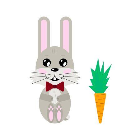 illustration. cartoon grey cute hare and carrot.