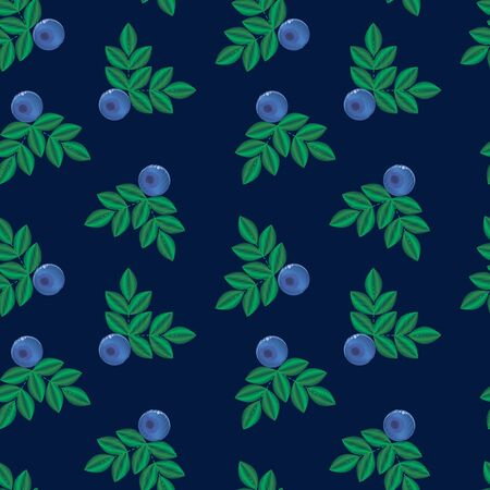 illustration, imitation of embroidery. blue forest summer berry with green leaves seamless pattern. Bilberries. background for textile, wallpaper, covers, surface, print, gift wrap. Imagens - 132204696