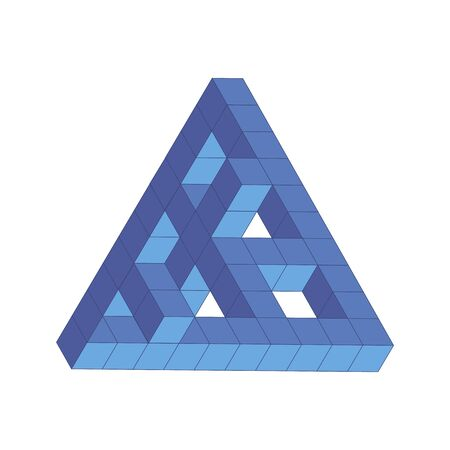 illustration of the Penrose triangle, maze, blue cube Imagens - 132062585