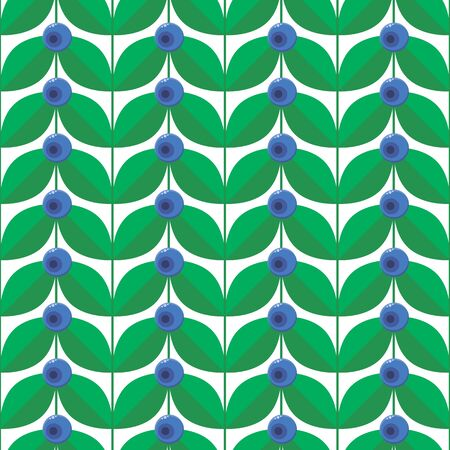 illustration, blue forest summer berry with green leaves seamless pattern.