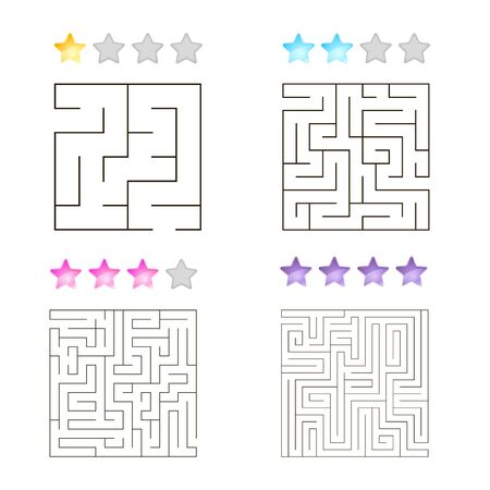 illustration of set of 4 square mazes for kids at different levels of complexity