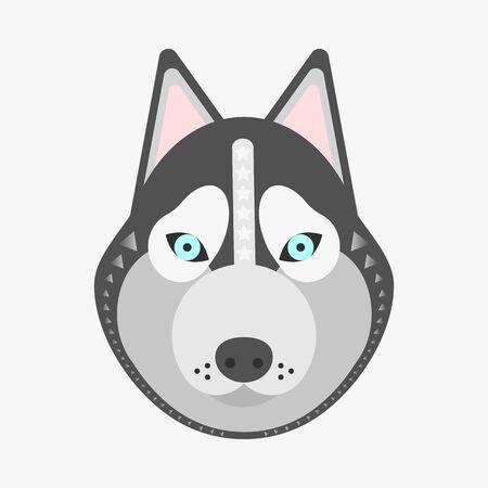 illustration, print dog husky grey white
