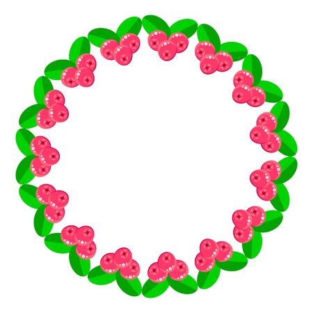 illustration. round frame of pink forest summer berries with green leaves. cranberry. template greeting cards.