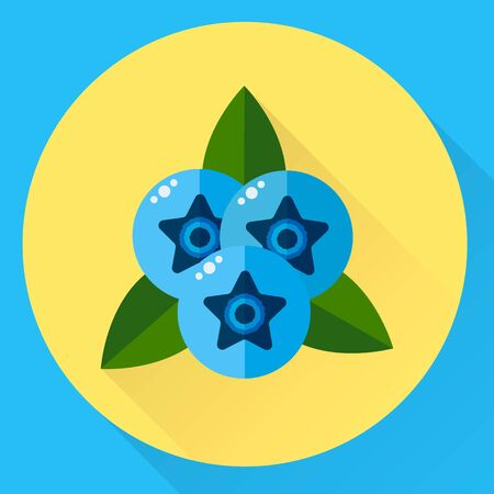 illustration, flat round icon blueberries, blue berries with green leaves Stock Photo