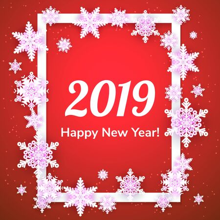 White origami snowflakes with shadow on red background. Paper cut. Rectangle frame. Vector winter illustration for decorating for the new year and Christmas.